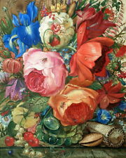 Insects and Flowers Still Life Oil painting Printed on canvas 16X20 inch P1046