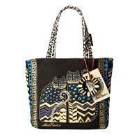 Polka Dot Gatos Laurel Burch Small Canvas Tote Handbag