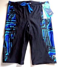 Speedo Men's Size 22  Jammer Swimsuit Lycra Black - Blue