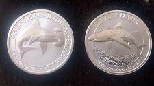 1/2 oz silver Tiger Shark And 1/2 OZ Silver Hammerhead Shark Silver Combo Pair!