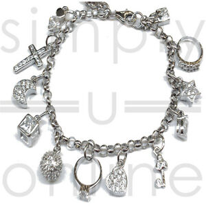 925 Silver 13 Charms Ladies Charm Bangle Bracelet Bracelets Fashion Jewellery
