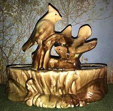 Vintage Drip Pottery Ceramic Cardinal Bird TV Lamp Planter