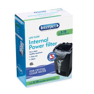 INTERPET 70100 LIFE FLOW #5 INTERNAL POWER FILTER 3-10 GALLON AQUARIUMS