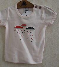 Neuf : Tee-shirt PETIT BATEAU 3 mois rose pâle nuages et coeurs pour bébé fille