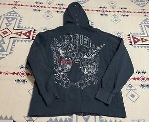 Rebel Spirit Size L LS Black Embellished Studded Hoodie Full Zip C7