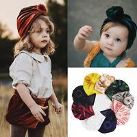 Newborn Toddler Kids Baby Boy Girl Soft Velvet Indian Turban Knot Beanie Hat Cap