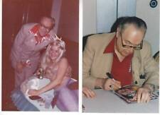 4x6 photos of FORREST J ACKERMAN at a 1993 convention & with a mermaid in 1984.