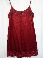 12 Miss Selfridge red crimson satin sequin lace beaded strappy mini evening dres