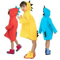 Baby Kid Children Dinosaur Rain Coat Poncho Rainwear UK Hooded Jacket O1O5