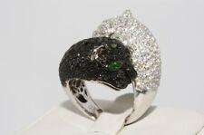 5.42CT Noir & Blanc Diamant Double Jaguar Dîner Bague 14K or Blanc
