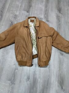 Vintage 90s Marlboro Adventure Team Map Lined Brown Leather Jacket Size XL