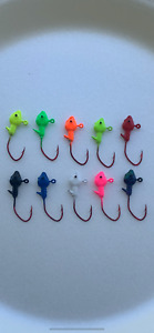 10 pack 1/32 Crappie Minnow Jig Heads with Eyes #4 Red Chrome Sickle Hooks