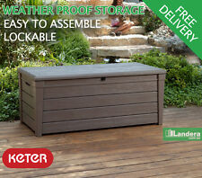 KETER BRIGHTWOOD Storage Box - Outdoor Indoor Garden Shed Cabinet Patio