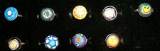 Millefiori Polymer Clay Rings Adjustable White Metal Base 9pc Lot Flowers Face