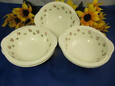 "Harkerware Harker ROSE BUD Lugged Cereal Bowls 6 3/4"" HTF Set Of 5"