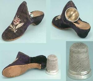 Antique Velvet Shoe With Sterling Silver Thimble * English * Circa 1870