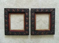 Pair of Antique Picture Frames Wood & Gesso Arts & Crafts Mission Bungalow Leaf
