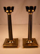 Signed 'Branko' Fine!-quality Bronze/brass & enamel Candlesticks, candleholders