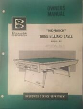 Monarch Home Billiard Table Owners Manual Brunswick Model GZ 1965 - NOT A COPY