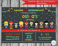 SUPERHERO INVITATIONS PERSONALISED INVITES CARDS BOYS GIRLS BIRTHDAY PARTY