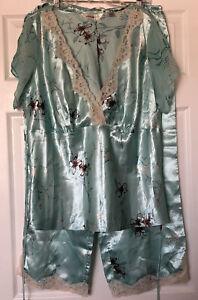 NWT Women's AVENUE BODY Mint Green Floral Lounge Pajama Set 18/20 Silk