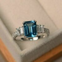2.25Ct Emerald Cut Blue Topaz Solitaire Engagement Ring 14K White Gold Over