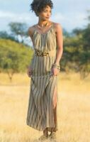 Soft Surroundings Women's Size Small South Shores Maxi Dress Striped Tan/Black