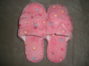 New Women's Pink Colored Polka Dot Bow Slippers Size 8