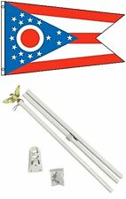 3x5 State of Ohio Flag White Pole Kit Set 3'x5'