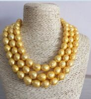 HUGE NATURAL AAA 13MM SOUTH SEA GOLDEN PEARL NECKLACE 50 INCH 14K GOLD CLASP