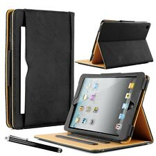 Real Leather Flip Stand Case Smart Wallet Cover For Apple iPad & Samsung Tablets