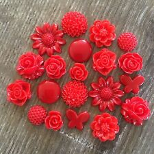 20 Red Flower Butterfly Round Resin Rose Cabochon Flatback Embellishments DIY