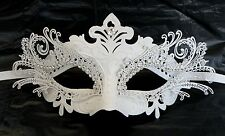 White Metal Masquerade Mask - Express Post Option Available
