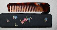 Mid-Century France faux Tortoise Shell Comb with Hand Embroidered Floral Case
