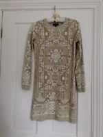 Topshop Cream Winter White Gold Lurex Metallic Knitted Jumper Dress - Size 8