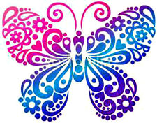 20 Water Slide Nail Art Decal Transfer Pink Purple Teal Butterfly 3/8 Inch