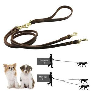 Dog Leash Coupler Leather Double Dog Pet Lead Leash Splitter Coupler No Tangle