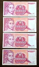 Lot of 4 YUGOSLAVIA 100000 Dinara 1989 Replacement Banknotes in holder FREE S/H