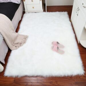 Faux Sheep Skin Hairy Carpet Rug Home Decor Washable Rectangle Shape Fluffy Type