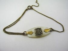 Vintage Foreign Military Bracelet Mother of Pearl Military Shield