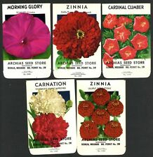 Set of 5 Different Vintage Seed Packets, Country Store, Sedalia, Missouri 165