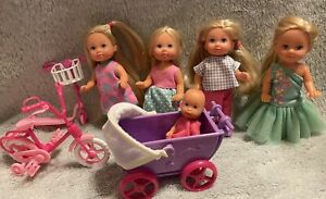 SIMBA TODDLER BABY SISTER DOLL LOT BARBIE  FRIeNDS TWINS W/ Bike Scooter