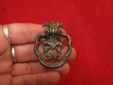 "ANTIQUE ORNATE DRAWER PULL HANDLE SCROLLY ROCOCO BAROQUE 1 3/4"" LONG GRAY"
