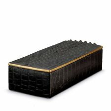 L'Objet Crocodile Rectangular Box, Black