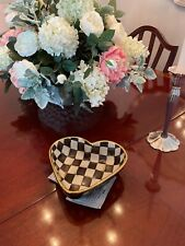 Mackenzie Childs Courtly Check Heart Shape Ceramic Dish