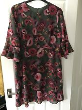 M&S Ladies Green Mix Floral Dress Size 22