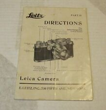 1937 Leitz Leica Camera Lense and Viewfinder Directions Manual Original 24 pages