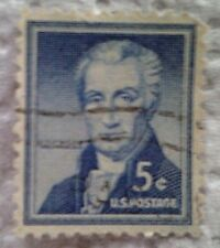 1954 Scott 1038 James Monroe one cancelled used 5 cent stamp off paper