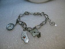 "Vintage 7"" Monet Charm Bracelet. 4 Charms, 9mm wide. Grad Cap Sterling Charm"