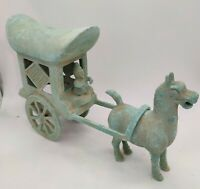 CHILDREN'S TOY. CARRIAGE&HORSE. INDEPENDENT PIECES.  BRONZE MUSEUM QUALITY